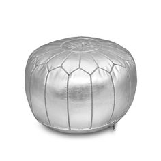 Stuffed Handmade Moroccan Pouf, Ottoman (Silver) (Faux Leather)