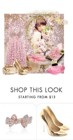 """The Pink Dress"" by sherrysrosecottage-1 ❤ liked on Polyvore featuring Yves Saint Laurent, Bling Jewelry, Giuseppe Zanotti, Jimmy Choo, vintage, gold, Pink, PinkDress and pinkandgold"
