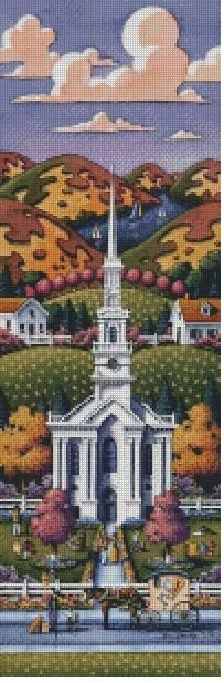 Americana Cross-Stitch: New England Chapels by Eric Dowdle - set of four cross stitch patterns