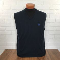 NEW NWT CHAPS Navy Blue Pullover Sweater Vest Men's Size Large Layer Office Prof #Chaps #Vest