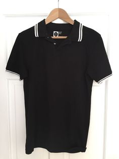 Men's Small Slimfit CEDARWOOD STATE Black Polo Shirt with White Trim