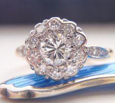 Engagement Ring Vintage Diamond Cluster by SweetHeirloomVintage, $2200.00