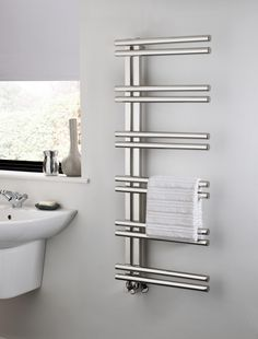 The Radiator Company Stratos Stainless Steel Towel Rail, is a side loading design making it easy to hang towels on. In stylish polished stainless steel it comes complete with a 5 year warranty. Prices from £416.97