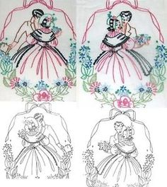 Old-Fashioned Embroidery Patterns | ... Old Fashioned Southern Belle & Beau embroidery transfer pattern S7269