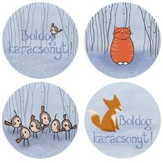 Winter themed illustrations for stickers. Cat, fox and a bunch of birds. copyright: Mucsi Boglárka