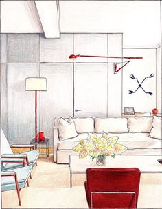 Gray Living Room art print interior design illustration. $20.00, via Etsy.