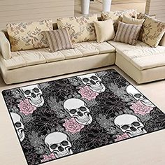 Amazon.com: Stylish Sugar Skull Day of the Dead Halloween Decorations Flower Butterfly Area Rug Pad Non-Slip Kitchen Floor Mat for Living Room Bedroom 5' x 7' Doormats Home Decor: Kitchen & Dining