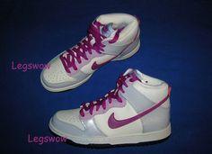 meet bde00 2c920 Nike Dunk High Basketball Sneakers Shoe White Purple Womens 7 New Youth  Girl 5 5