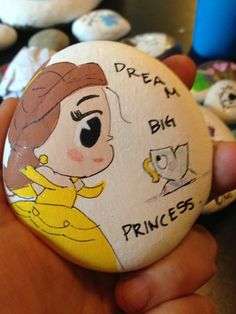Beauty and the beast Disney painted rocks