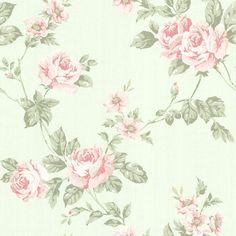 Papel de Parede - Toile du Jouy - Importado da Inglaterra - Rosas Estampadas em Fundo Verde – 302-66874   Papel de Parede   Papel de Parede Infantil