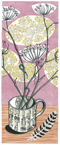 """Angie Lewin - Alphabet Mug linocut print  This one reminds me of the art in Ray Bradbury's """"Turn on the Night"""". I loved that book when I was little; still do!"""