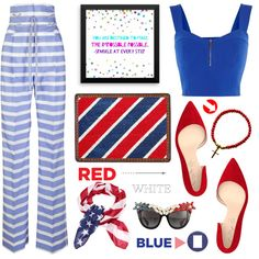 Red, White & Blue: Celebrate the 4th! by samra-bv on Polyvore featuring moda, Karen Millen, Ermanno Scervino, Shoes of Prey, Anna-Karin Karlsson, Smith & Cult, fourthofjuly, contestentry, polyvoreset and shopjewelry