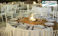 Τραπεζομάντηλο Ροτόντας για γάμο οκτώ ατόμων.  Σε αποχρώσεις λευκού με συνδυασμό χρυσό runner που αποπνέει αίσθηση πολυτέλειας. Table Settings, Place Settings