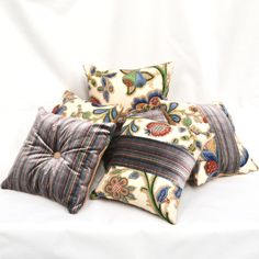 Set of 6 complimenting velvet and designer Nina Campbell fabric Cushions. Nina Campbell, Cushion Fabric, Pretty Pictures, Cushions, Velvet, Throw Pillows, Projects, How To Make, Design