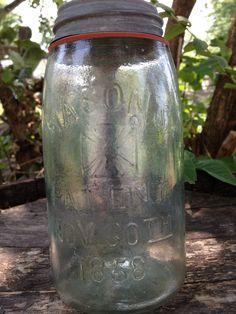 Vintage Aqua Mason Jar Mason HERO CROSS Pat Nov 30th 1858  Quart Fruit Canning Mason Ball Jar. $10.00, via Etsy.