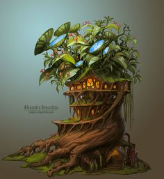 30 Beautiful Tree Drawings and creative Art Ideas from top artists - 26 drawing trees biotech house by sedeptra Environment Concept Art, Environment Design, Game Environment, Fantasy Kunst, Fantasy Art, Game Art, Fantasy House, Top Artists, First Art