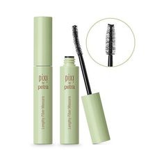 Pixi By Petra Lengthy Fiber Mascara .23oz ($16) ❤ liked on Polyvore featuring beauty products, makeup, eye makeup, mascara, black and lengthening mascara