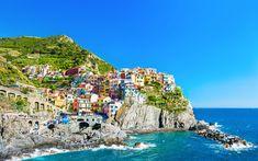 Download wallpapers Manarola, 4k, summer, sea, Riviera di Levante, Cinque Terre, Liguria, Italy