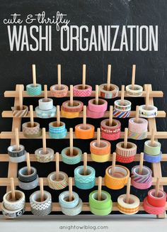 organize your washi tape collection on a spool rack