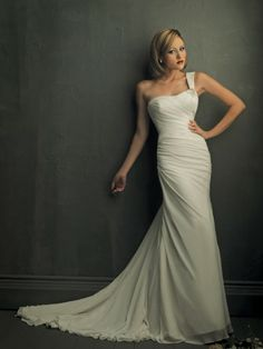 Chiffon One-Shoulder Neckline Delicately Pleated Bodice A-line Wedding Dress