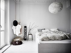 I like the vibe of this home. The green-grey walls combined with the white hard wood flooring give the home a very fresh look and the furniture and accessories are chosen very carefully to create a stylish, cozy place with character. Small Apartment Bedrooms, Green Apartment, Small Apartments, Apartment Goals, Bedroom Photos, Home Bedroom, Bedroom Decor, Serene Bedroom, Bedroom Ideas