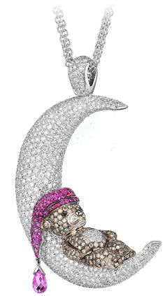 gold teddy bear necklace   18k white gold Teddy Bear pendant is enhanced with pink sapphires (1 ...