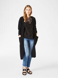 Lang kardigan Black Duster Coat, Normcore, Jackets, Black, Style, Fashion, Down Jackets, Swag, Moda