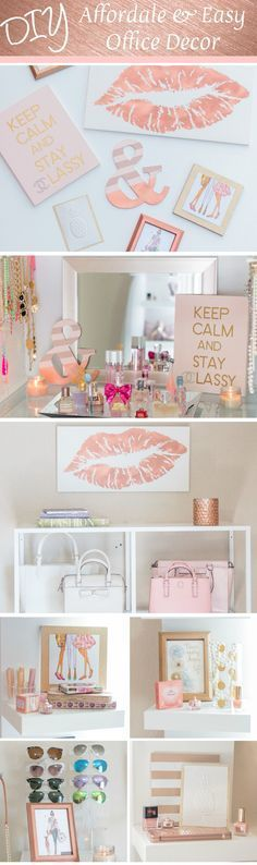 DIY Lip Print, Ampersand and Chanel Office Decor - Glamour-Zine #desk_decor_purple