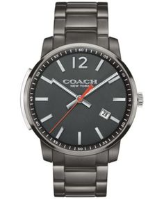 COACH MEN'S BLEECKER SLIM GUNMETAL ION-PLATED BRACELET WATCH 42MM 14602002, MACY'S EXCLUSIVE | macys.com