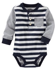 Casual and cool, this striped henley bodysuit pairs perfectly with denim for an authentic OshKosh outfit.