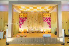 different style muhurtham mandap - 9841079573 Desi Wedding Decor, Wedding Hall Decorations, Marriage Decoration, Engagement Decorations, Wedding Mandap, Backdrop Decorations, Wedding Bride, Backdrops, Mehndi Decor