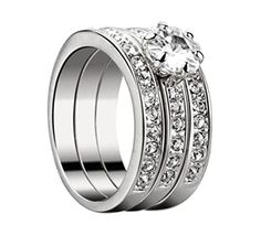 Rings White Gold Plated Made With Swarovski Crystals Wedding Eternity Ring Set Ring Ring, Wedding Rings For Women, Rings For Men, Rose Gold Morganite Ring, Cubic Zirconia Rings, Rings Online, Eternity Ring, Fashion Rings, Band Rings
