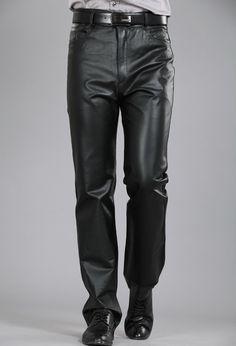 22527ca4372 M-7XL Plus Size Fashion Leather Pants Motorcycle Pants Men Genuine Leather  Straight Pants Men s