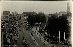 Vredenburg (1920) vanaf hoek Korte Koestraat (Jaarbeurs en de houten gebouwen).
