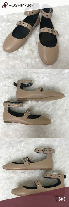 """NWOB Rebecca Minkoff Rachel Grommet Ballerina Flat Rebecca Minkoff Rachel Grommet Ballerina Flat in Nude. Shiny calf leather ballerina flat. 0.3"""" flat stacked heel with round toe. Silvertone grommet studs. Double buckle straps. Rubber outsole. Rebecca Minkoff Shoes Flats & Loafers"""