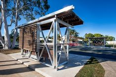 Noosa bus shelters feature x-braced frames and gum cladding   Architecture And Design