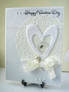 White Valentine's Day Card with Doily and Stick Pin, Sewing