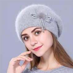 b199050d41a2b Buy Xthree Winter beret hat for women knitted hat Rabbit fur beret for girl  solid colors fashion lady cap good quality  25.41- ICON2