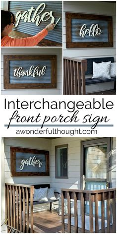 Home Decoration - DIY Interchangeable Front Porch Sign - Wallpaper Pinme Front Porch Signs, Front Door Decor, Porch Wall Decor, Diy Front Porch Ideas, Diy Porch, Fromt Porch Decor, Front Porch Decorations, Fromt Porch Ideas, Porch Entrance