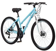 This women's Schwinn Dual Sport Hybrid Bike offers the perfect combination of road bike speed, cruiser comfort and mountain bike versatility, making it a true multi-sport hybrid that can handle all of your cycling needs. Dual Sport, Sports Frames, Off Road Adventure, Road Bike Women, Bicycle Maintenance, Cool Bike Accessories, Touring Bike, Bike Seat, Road Bikes