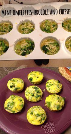 Ingredients: 4 eggs, salt, garlic powder, parsley, 3/4 cup of shredded cheese and 1 1/2 cup of brocoli.