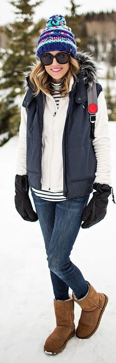 Navy Puffer Snow Time Vest by Hello Fashion