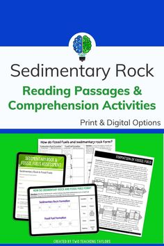 Flexible activities for formation of sedimentary rock and fossil fuels offer print and digital options. Includes pictures and illustrations in a high interest reading passage with activities like sorts and assessments. Teach how layers of rock are formed. Aligned for kids in 4th and 5th grade. Teach about fossil fuel formation and making sedimentary rock. Elementary Science Classroom, Upper Elementary, Science Vocabulary, Science Activities, Sedimentary Rock Formation, Physical Properties Of Matter, Earth Surface, 5th Grade Science, Comprehension Activities