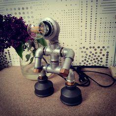 Купить или заказать Светильники из водопроводных труб Iron Man в интернет магазине на Ярмарке Мастеров. С доставкой по России и СНГ. Материалы: чугун, сталь, лампочка, шнур,…. Размер: ш -14см, д-13см, высота (от основания) -…
