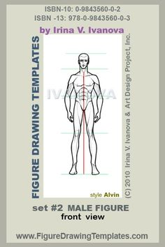 this male figure drawing template designed for drawing male body in front view in static position.