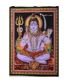 Meditative Shiva Tapestry: The God of all Gods, Shiva is the embodiment of destroying negative energy like ego and other false illusions. Spirit Science, Hinduism, Tapestry Wall Hanging, Shiva, Worship, Illusions, Screen Printing, Meditation, God