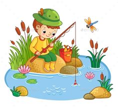 Buy The Boy Sits and Catches Fish in a Pond by svaga on GraphicRiver. The boy sits on a rock and catches fish in a pond. Vector illustration of a cartoon style with nature. Nature Drawing For Kids, Art Drawings For Kids, Murals For Kids, Art For Kids, Cartoon Styles, Cartoon Art, Cartoon Characters, Anime Drawing Books, Picture Composition