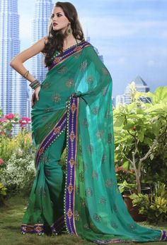 Shaded Green Saree with Blouse