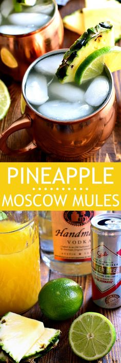These Pineapple Moscow Mules are a delicious refreshing twist on the original! Made with pure pineapple juice fresh squeezed limes ginger beer and vodka this is one cocktail you'll come back to again and again! Classic Cocktails, Summer Cocktails, Cocktail Drinks, Cocktail Recipes, Drink Recipes, Margarita Recipes, Alcohol Recipes, Juice Recipes, Top Recipes