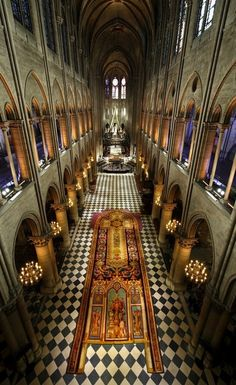 Cathédrale Notre-Dame de Paris. Beautiful interior of the world famous church built 8 centuries ago!